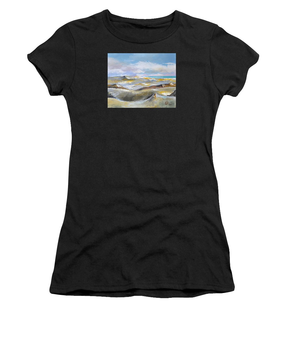 Dunes Women's T-Shirt (Athletic Fit) featuring the mixed media Dunes by Diana Rabinovich