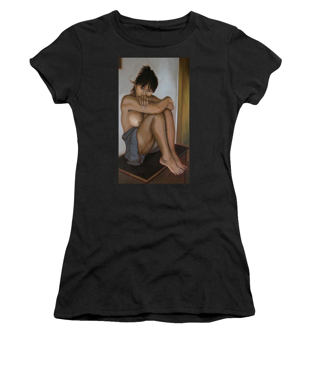 Figure Women's T-Shirt (Athletic Fit) featuring the painting Deep In Thought by Thu Nguyen
