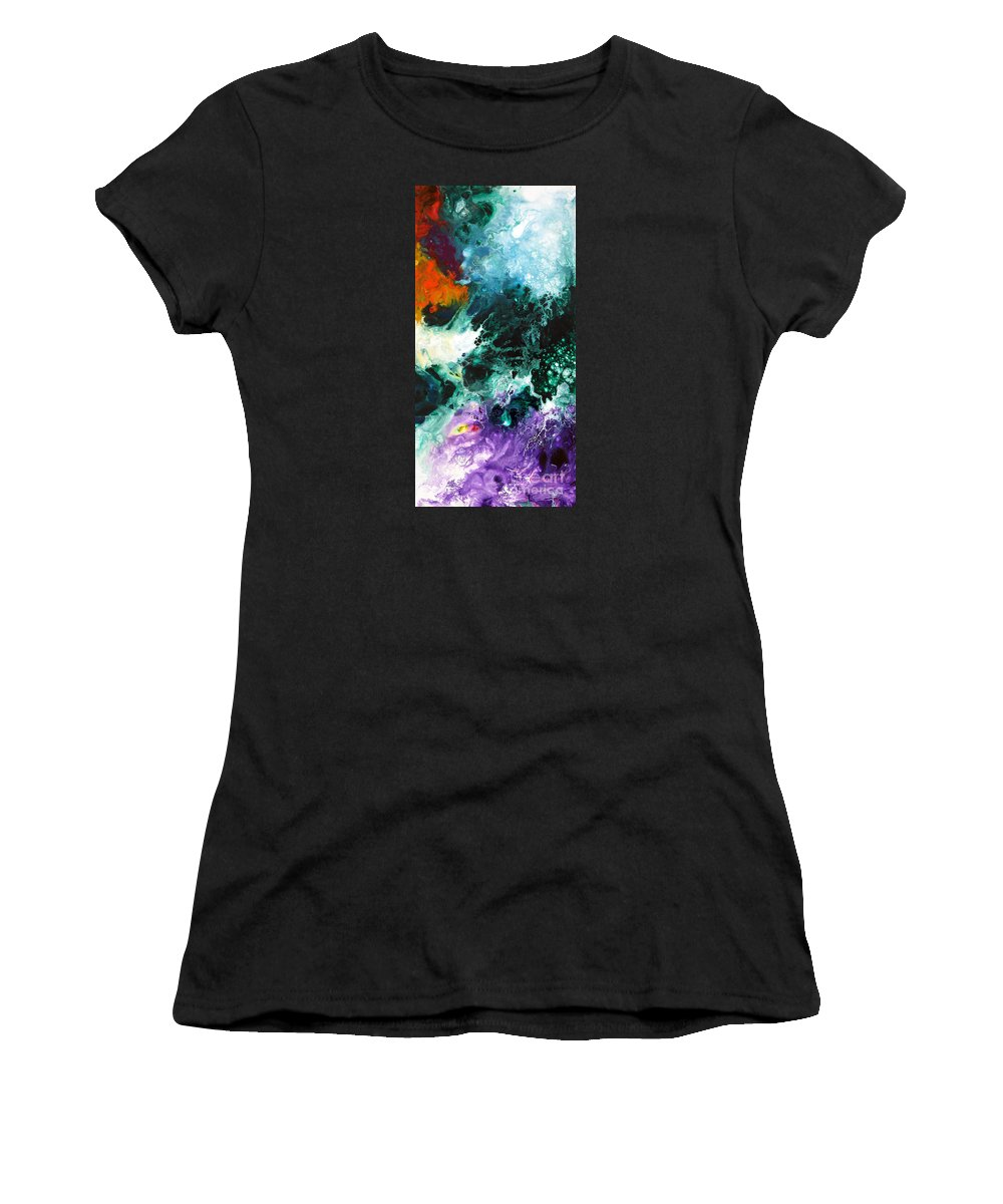 Abstract Women's T-Shirt featuring the painting Deep Space Canvas Two by Sally Trace