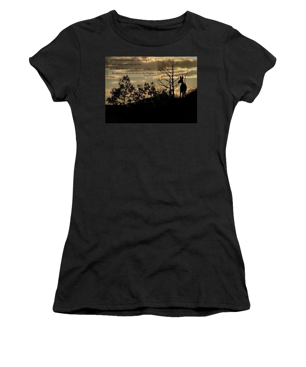 Deer Women's T-Shirt (Athletic Fit) featuring the photograph Deer Silhouette by Priscilla Burgers