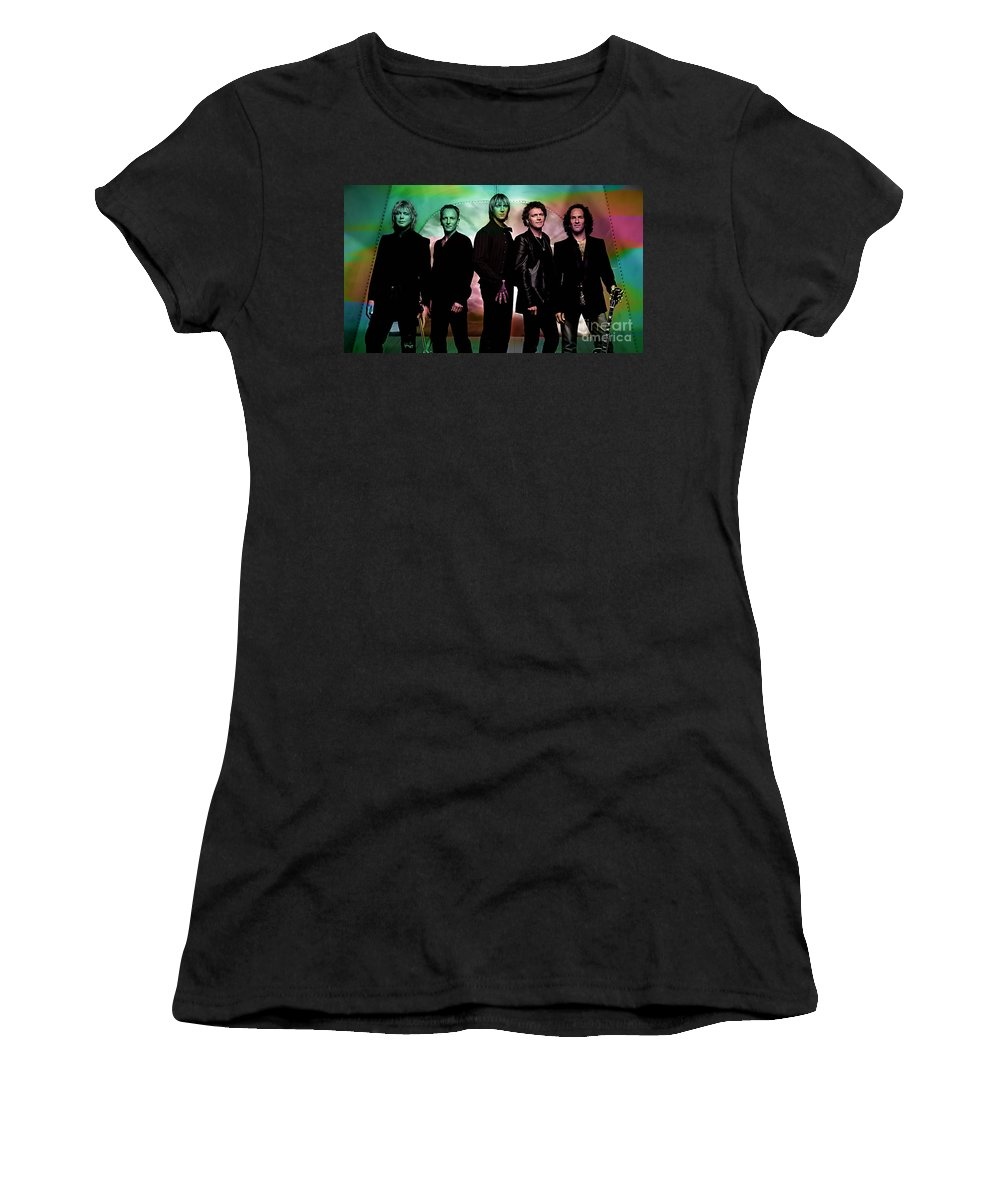 Def Leppard Photographs Women's T-Shirt featuring the mixed media Def Leppard by Marvin Blaine