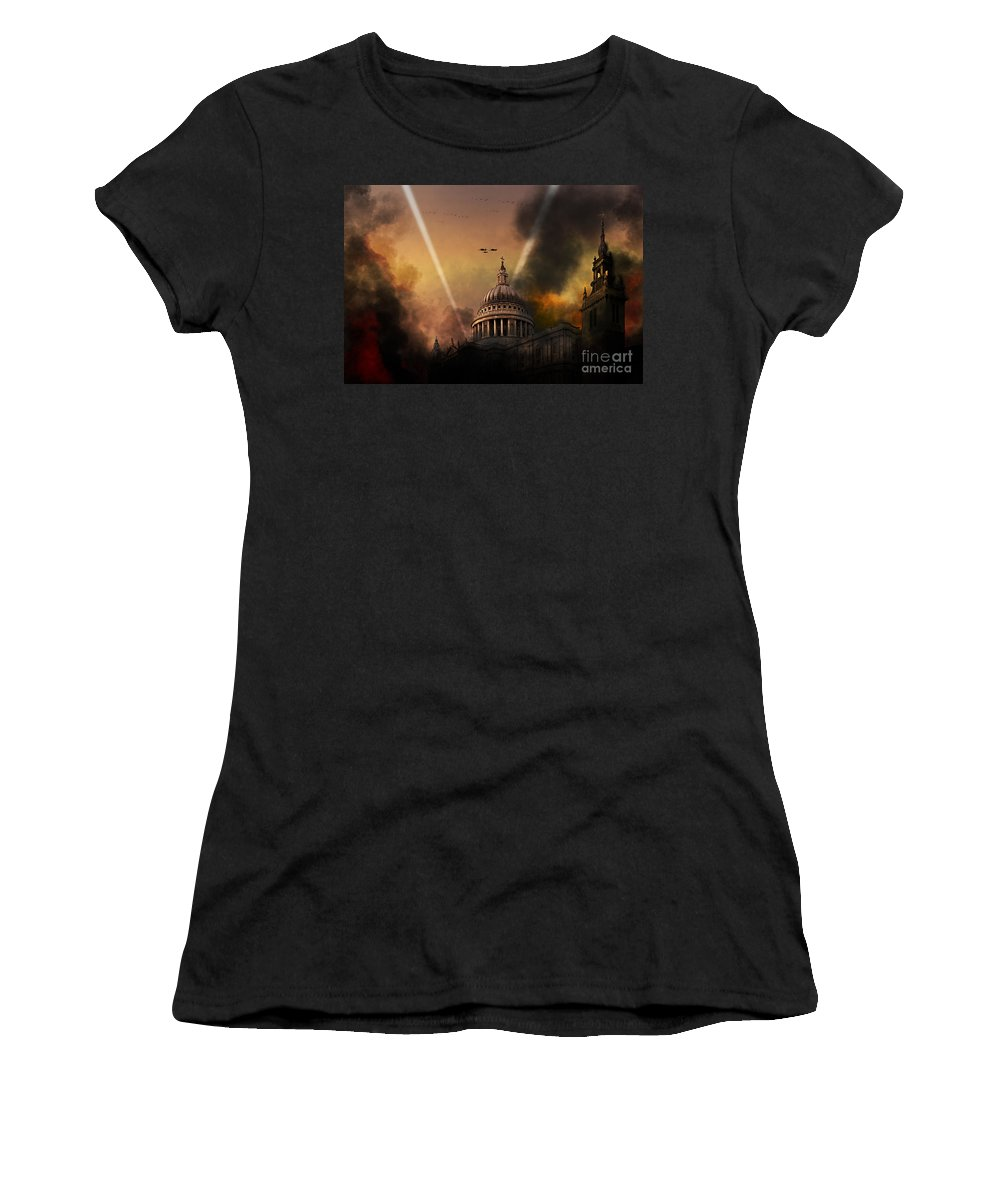 St Pauls Cathedral Women's T-Shirt featuring the digital art Defiance by J Biggadike