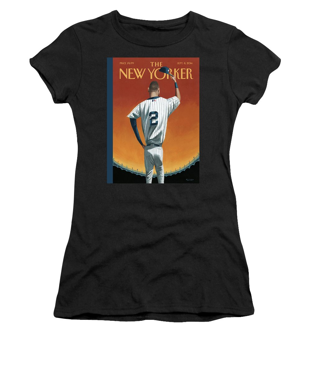 Retirement Women's T-Shirt featuring the painting Derek Jeter Bows Out by Mark Ulriksen