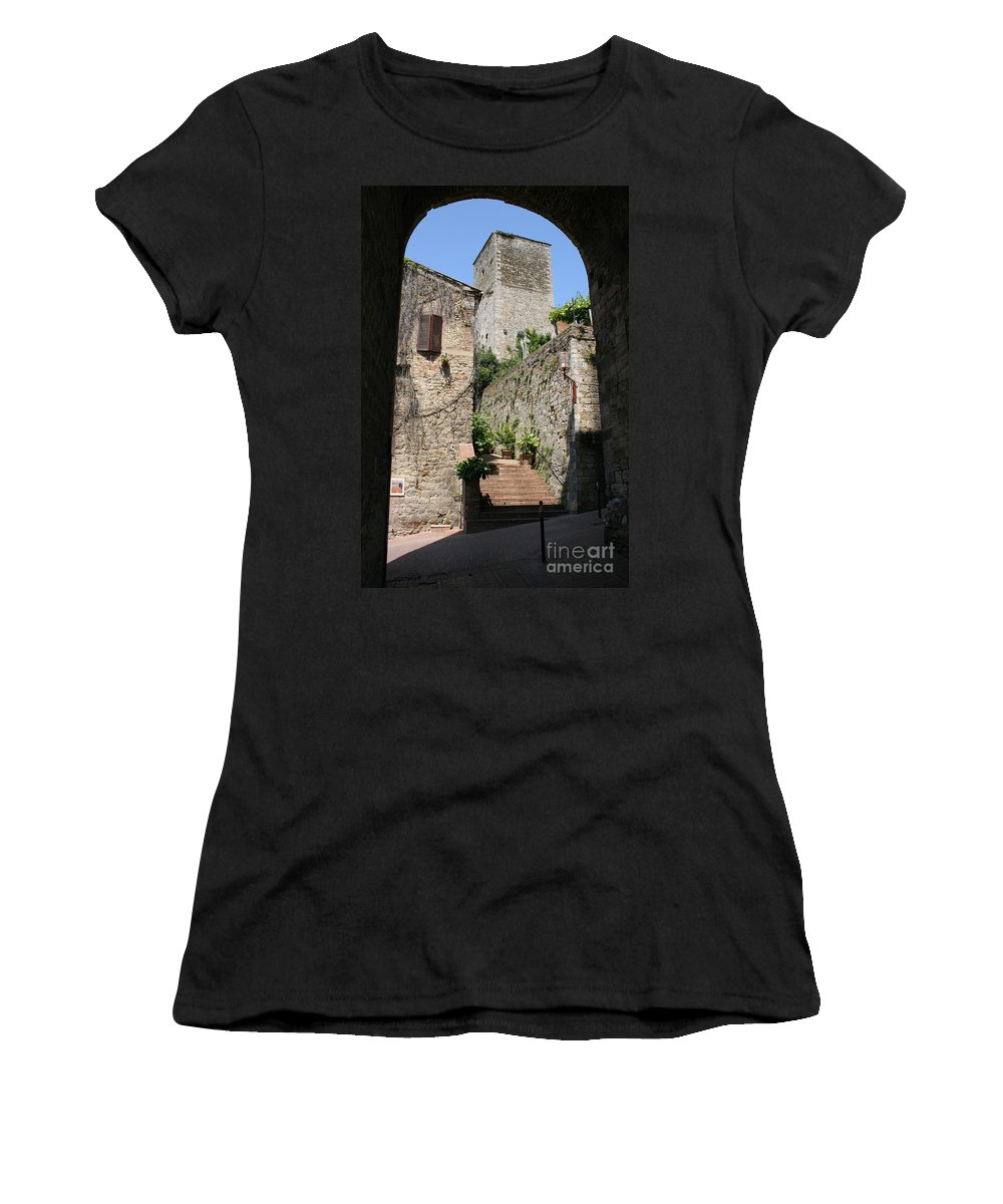 Way Women's T-Shirt (Athletic Fit) featuring the photograph Desert Alley In San Gimignano by Christiane Schulze Art And Photography