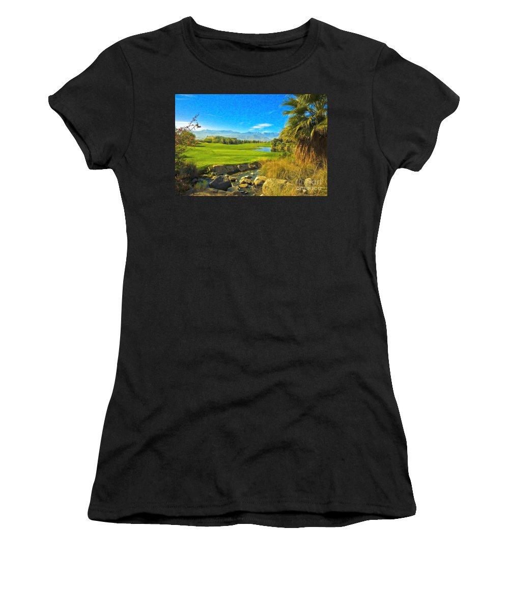 Golfing At Desert Willow Golf Course Palm Desert Ca Women's T-Shirt (Athletic Fit) featuring the photograph Desert Golf Resort Pastel Photograph by David Zanzinger