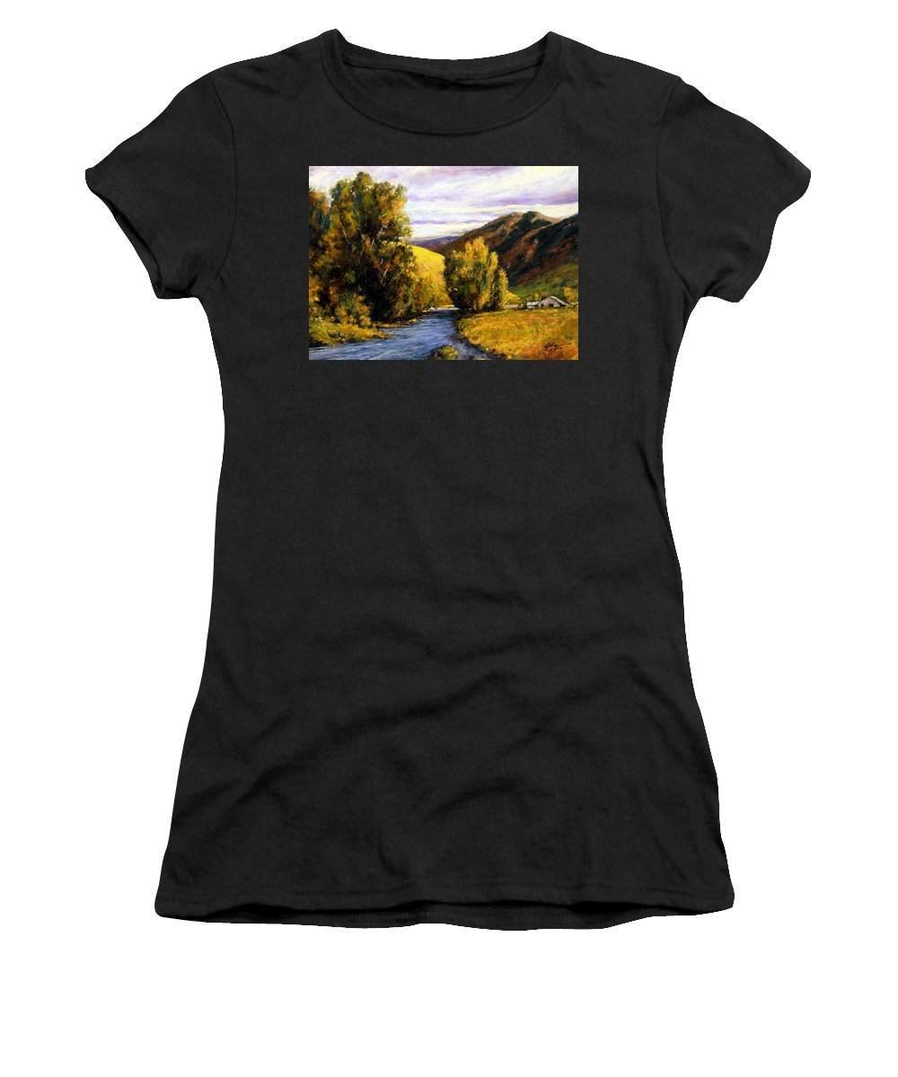 Painting Women's T-Shirt featuring the painting Deserted by Jim Gola