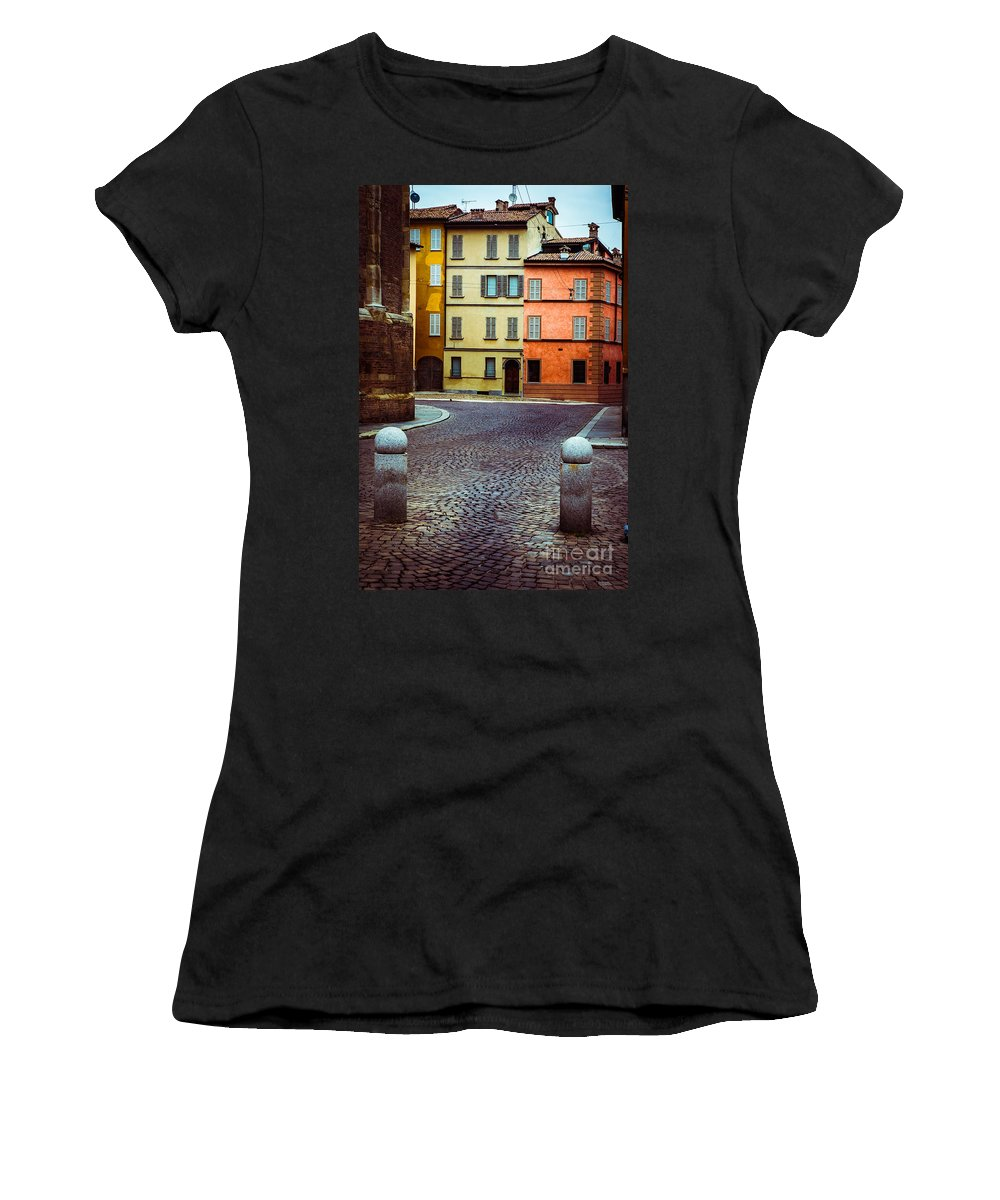 Cobbled Women's T-Shirt (Athletic Fit) featuring the photograph Deserted Street With Colored Houses In Parma Italy by Silvia Ganora