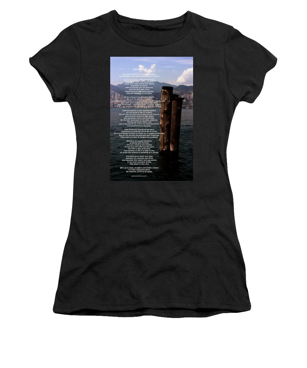 Desiderata Women's T-Shirt (Athletic Fit) featuring the photograph Desiderata On Lake View by Leena Pekkalainen
