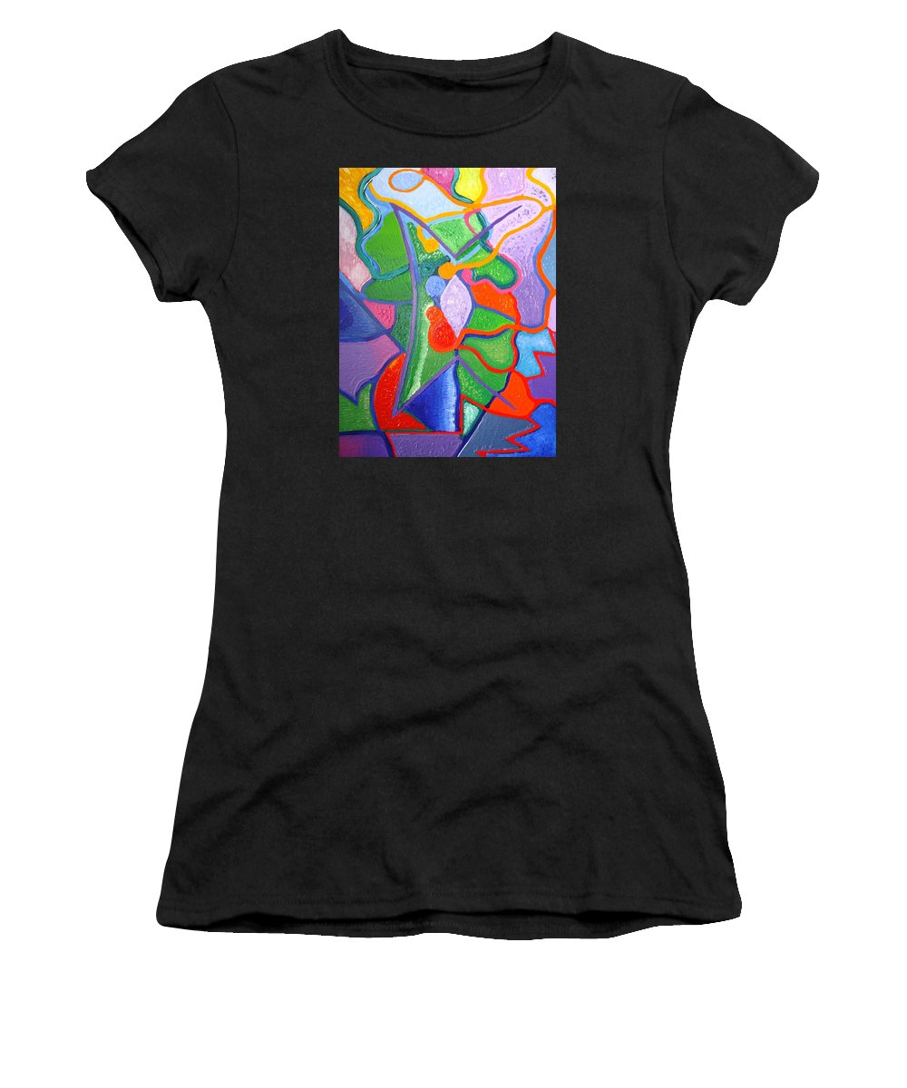 Abstract Painting Women's T-Shirt (Athletic Fit) featuring the painting Destiny by Joanna Pilatowicz