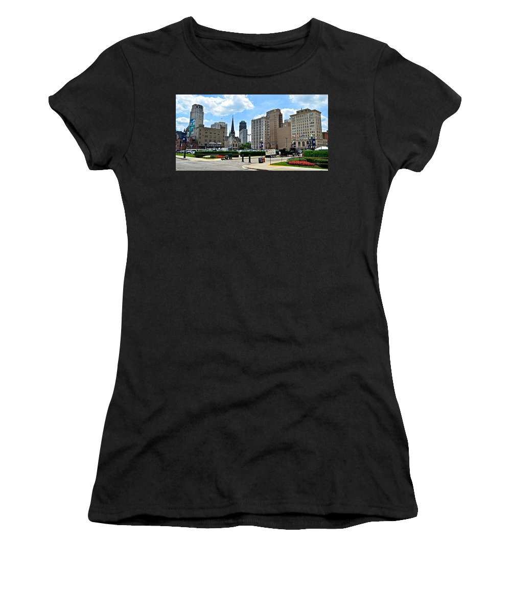 Detroit Women's T-Shirt (Athletic Fit) featuring the photograph Detroit As Seen From Comerica by Frozen in Time Fine Art Photography