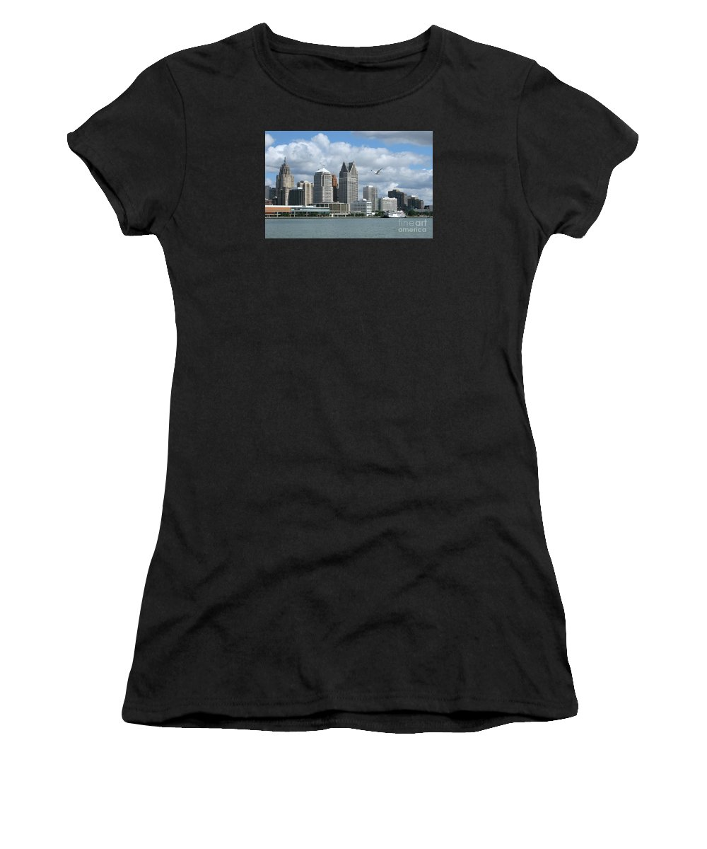 Detroit Women's T-Shirt featuring the photograph Detroit Riverfront by Ann Horn