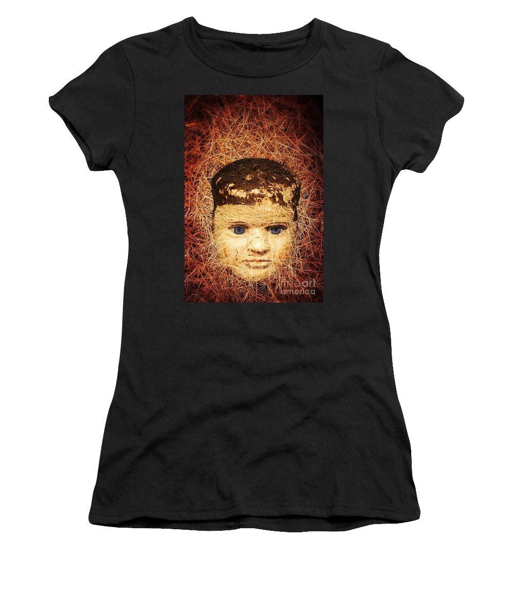 Scary Women's T-Shirt featuring the photograph Devil Child by Edward Fielding
