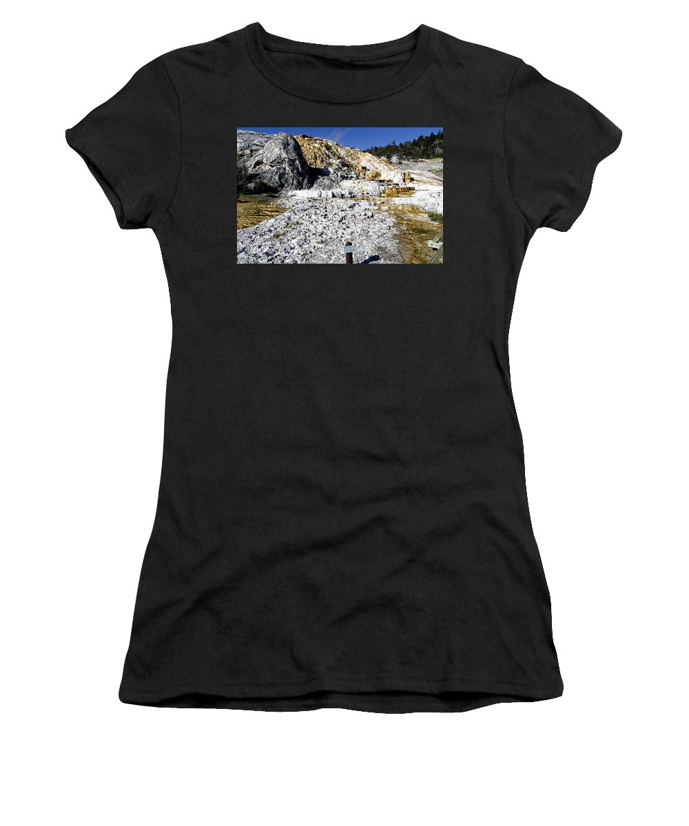 Yellowstone National Park Women's T-Shirt (Athletic Fit) featuring the photograph Devils Thumb - Yellowstone by Jon Berghoff