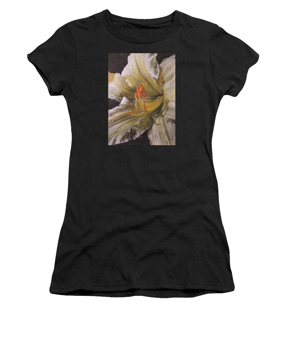 Daylily Women's T-Shirt (Athletic Fit) featuring the painting Diamonds by Barbara Keith