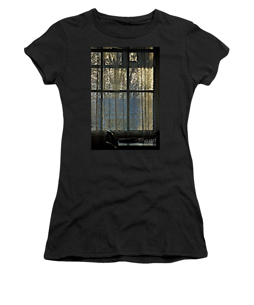 Curtains Women's T-Shirt featuring the photograph Dinner Light by Joseph Yarbrough