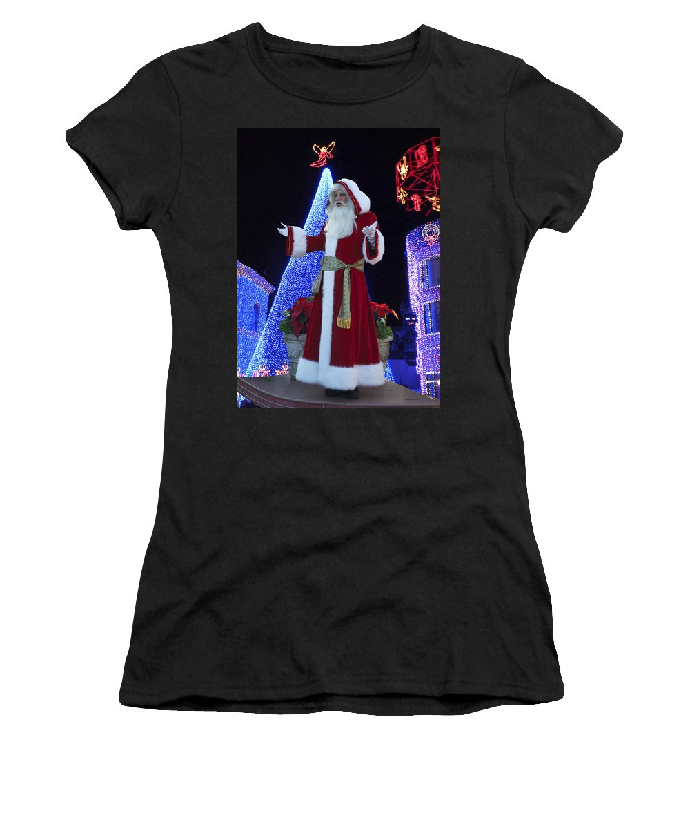 Santa Women's T-Shirt (Athletic Fit) featuring the photograph Disney Santa by Thomas Woolworth