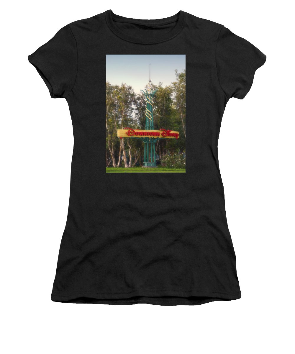 Disney Women's T-Shirt featuring the photograph Disneyland Downtown Disney Signage 01 by Thomas Woolworth