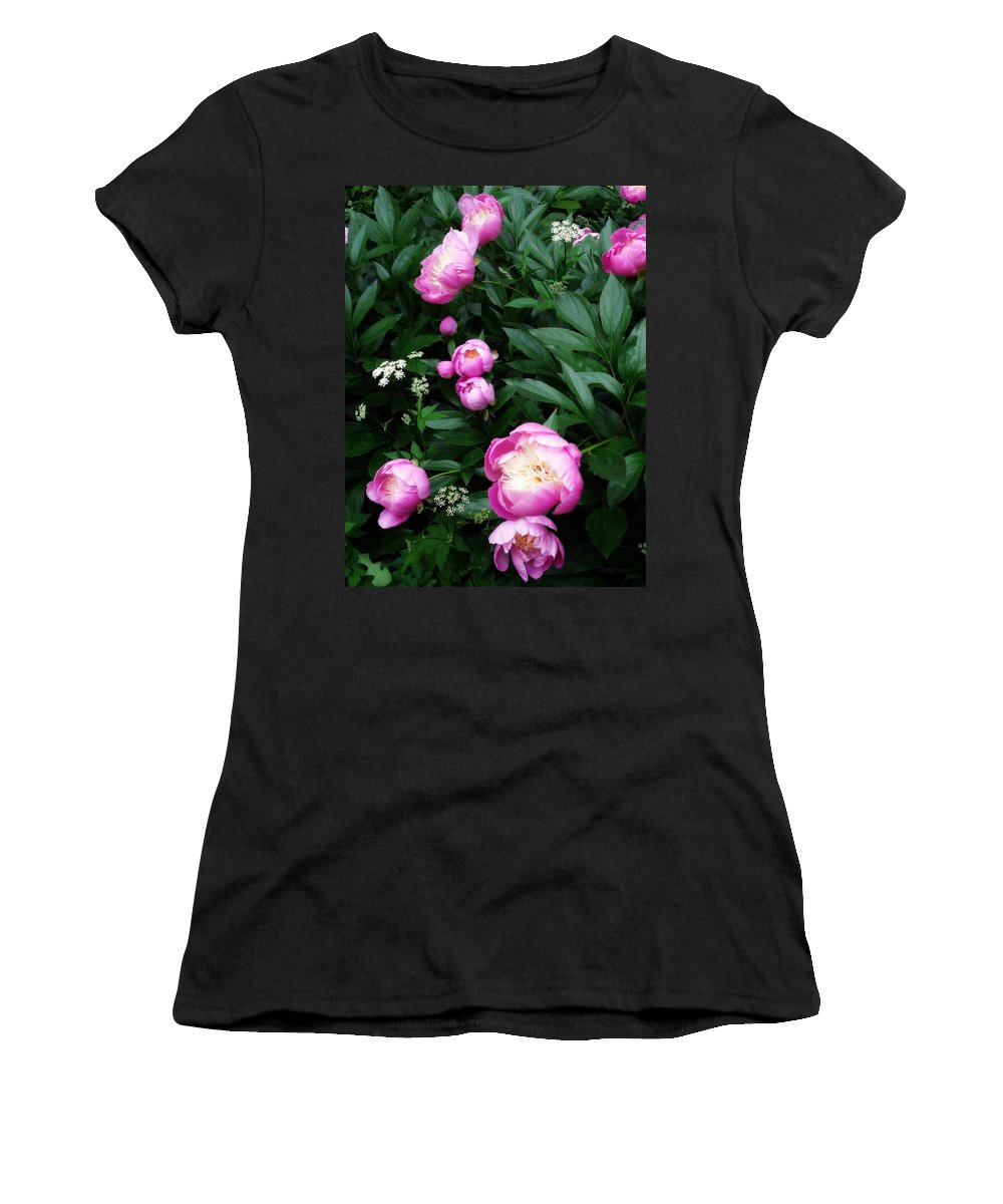 Peonies Women's T-Shirt (Athletic Fit) featuring the photograph Display Of Romance by Deborah Crew-Johnson