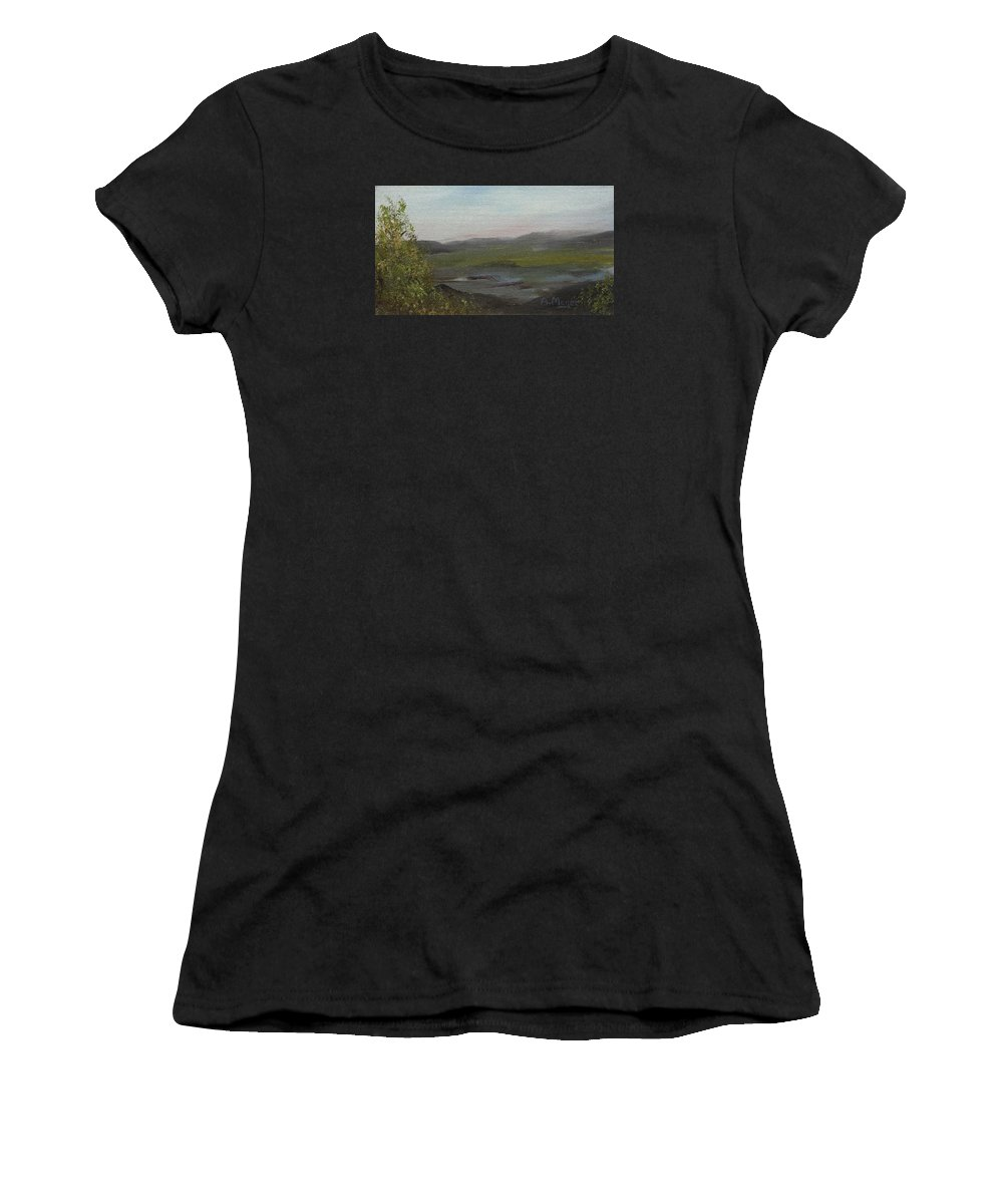 Painting Women's T-Shirt featuring the painting Distant Mist by Alan Mager