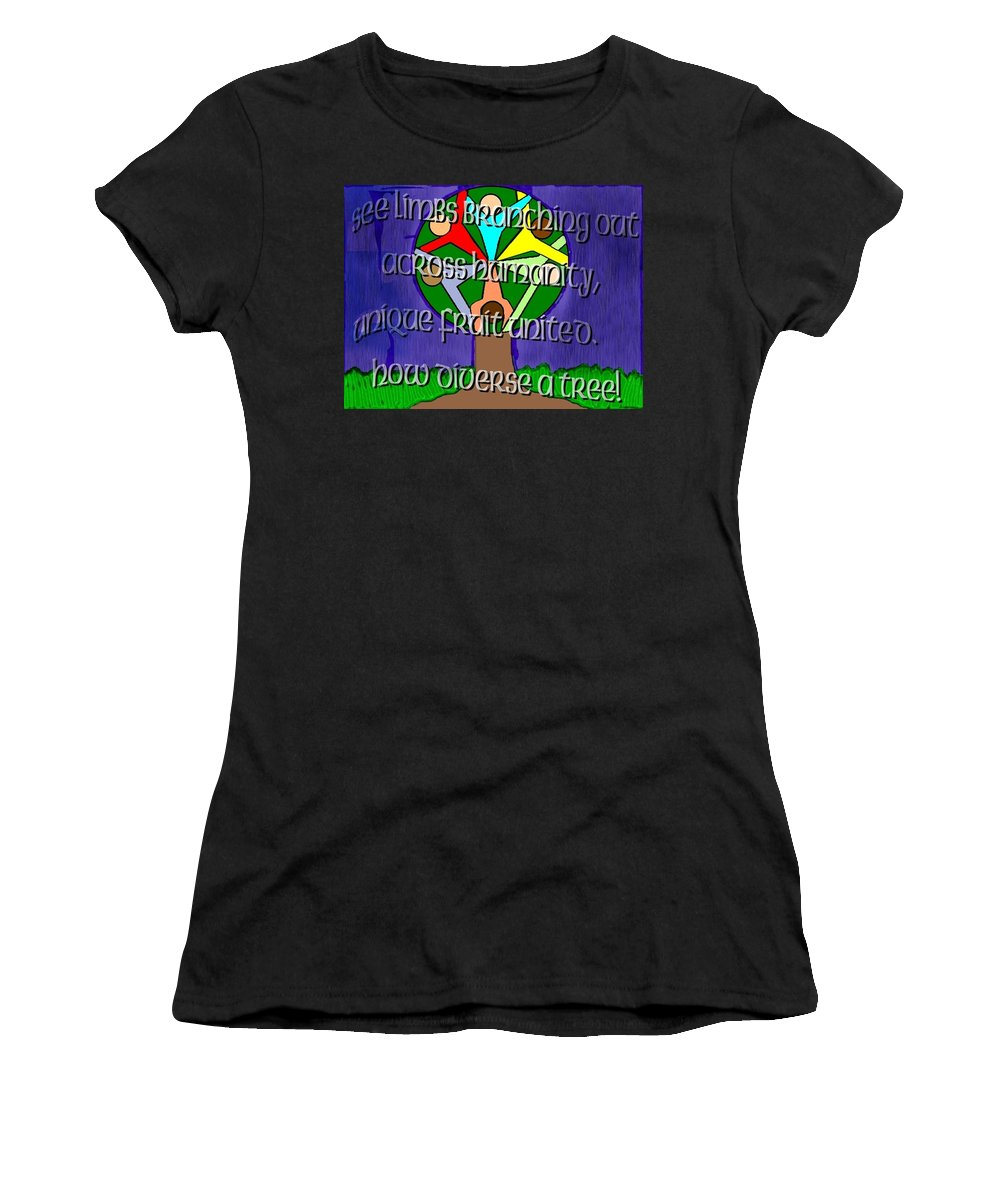 Diversity Women's T-Shirt (Athletic Fit) featuring the painting Diversity Tree by Pharris Art