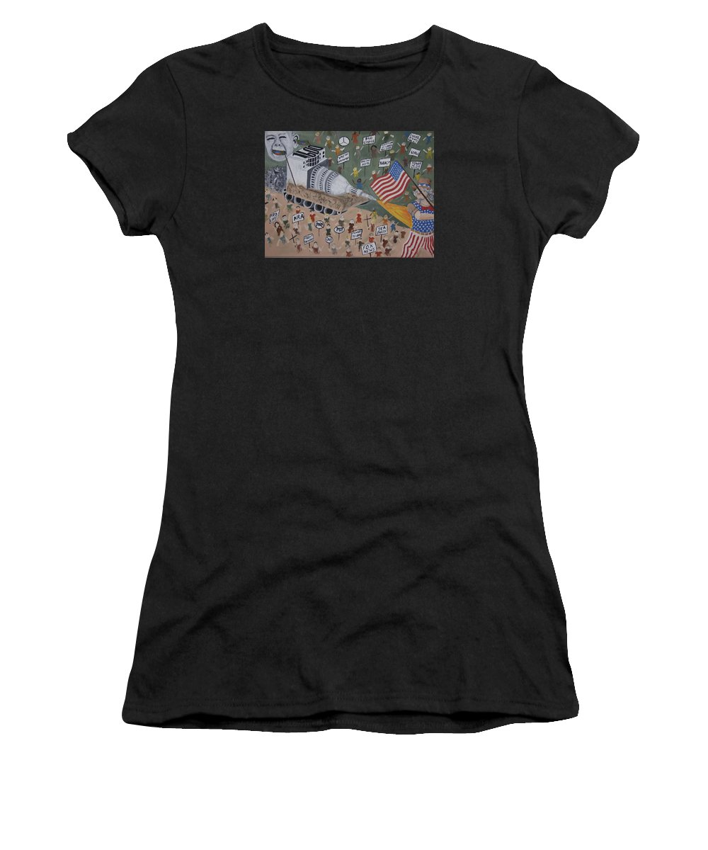 Political Satire Women's T-Shirt featuring the painting Divided We Stand by Dean Stephens
