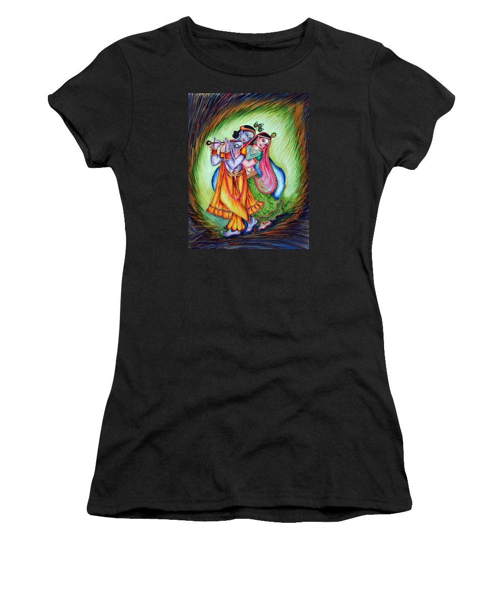 Krishna Women's T-Shirt (Athletic Fit) featuring the painting Divine Lovers by Harsh Malik