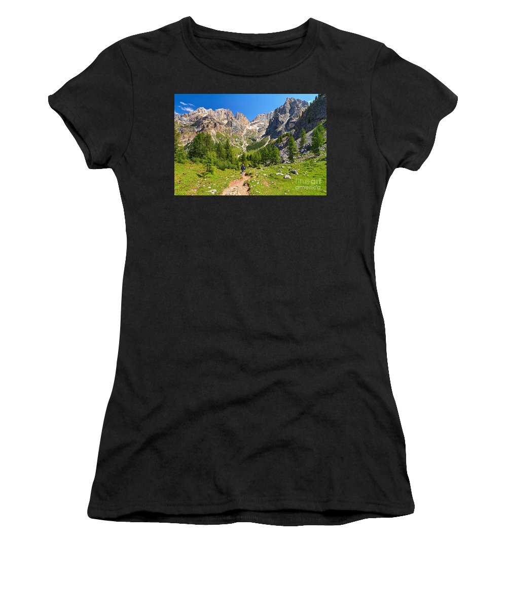 Hiker Women's T-Shirt (Athletic Fit) featuring the photograph Dolomiti -landscape In Contrin Valley by Antonio Scarpi