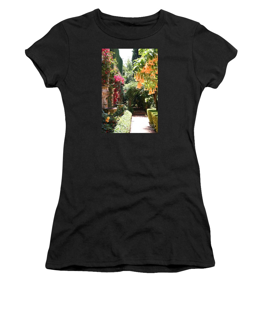 Dolphinfountain Women's T-Shirt (Athletic Fit) featuring the photograph Dolphinfountain And Flowers - France by Christiane Schulze Art And Photography