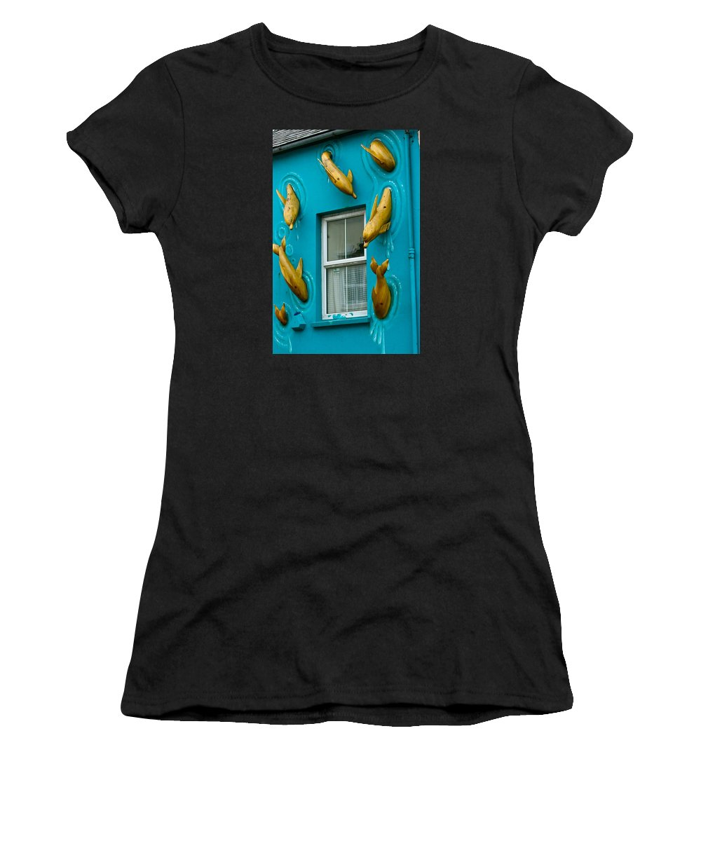 Dolphins At The Window Women's T-Shirt (Athletic Fit) featuring the photograph Dolphins At The Window by Denise Mazzocco