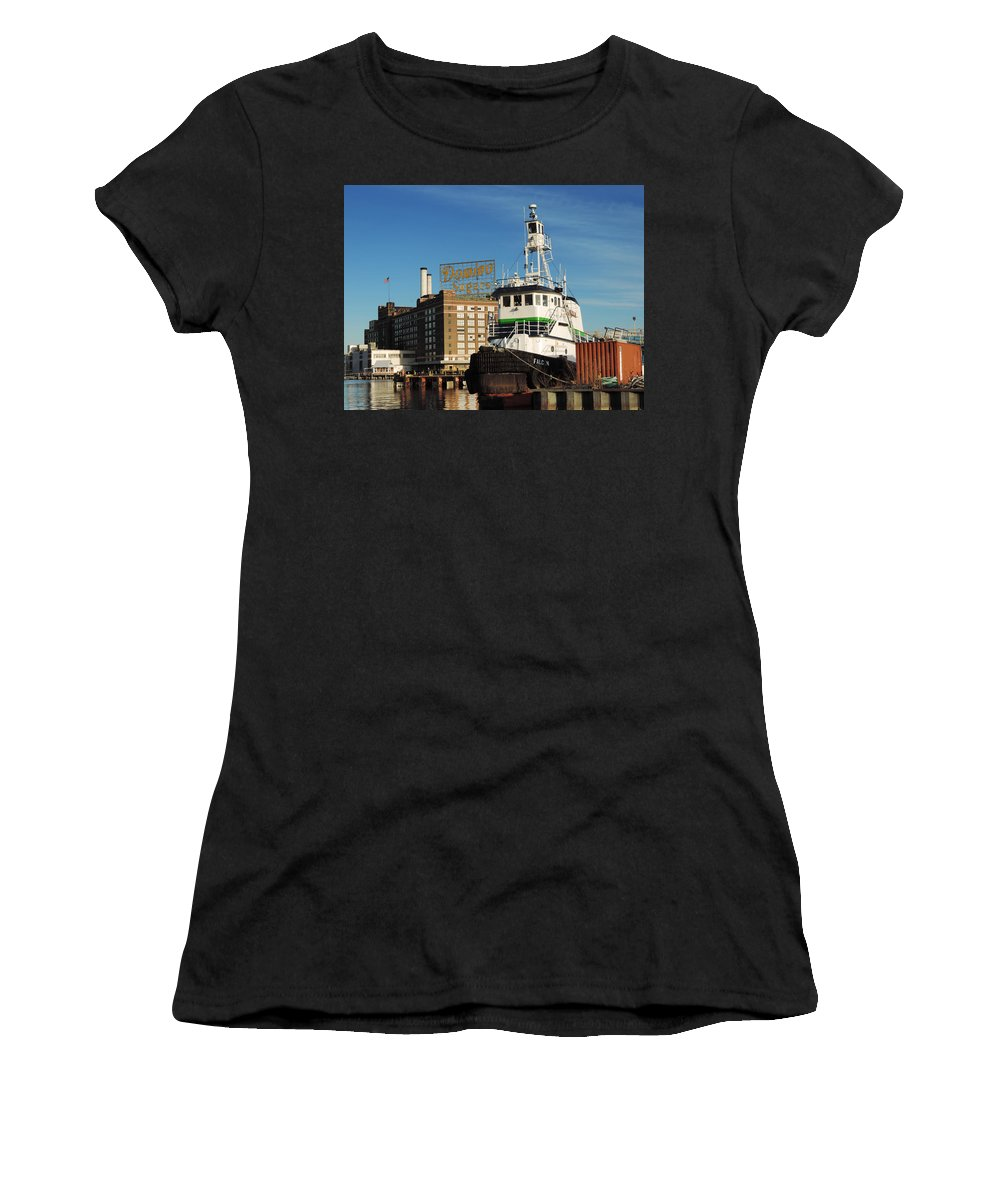 Gear Women's T-Shirt (Athletic Fit) featuring the photograph Domino Sugars Baltimore With A Boat by Cityscape Photography