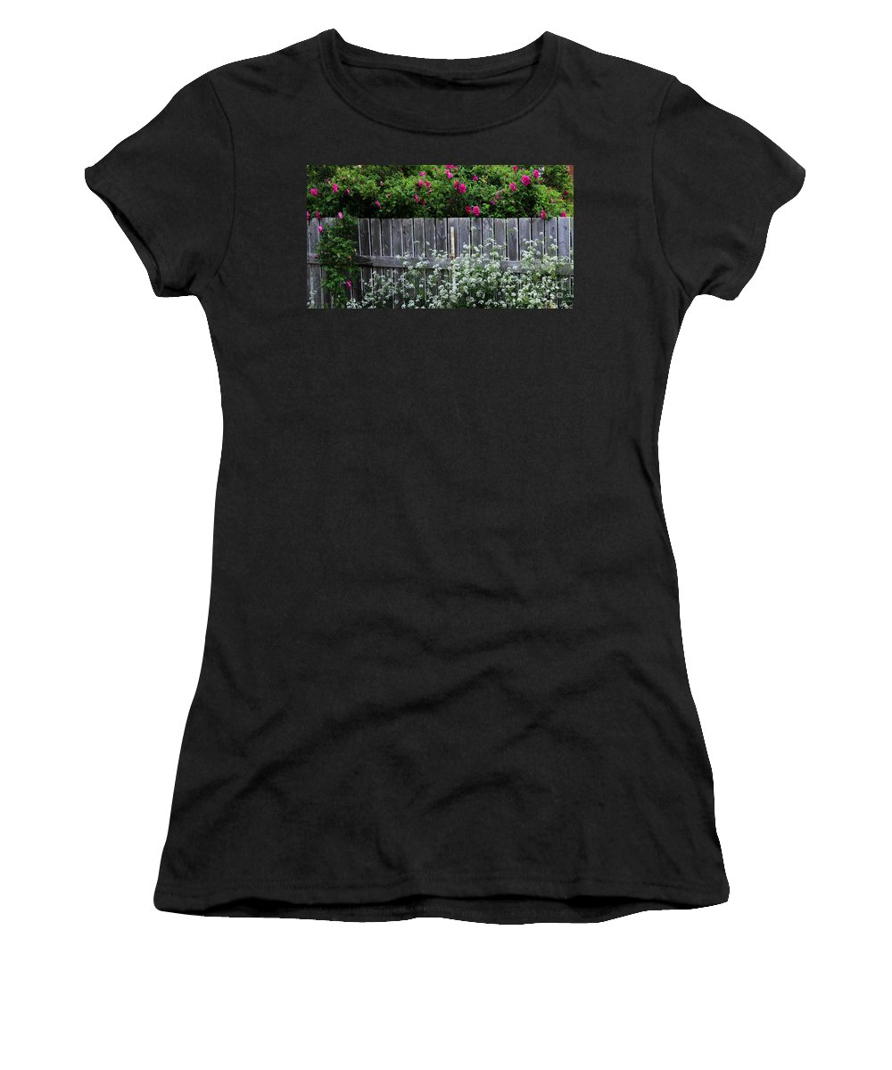 Don't Fence Me In Women's T-Shirt (Athletic Fit) featuring the photograph Don't Fence Me In - Wild Roses - Old Fence by Barbara Griffin