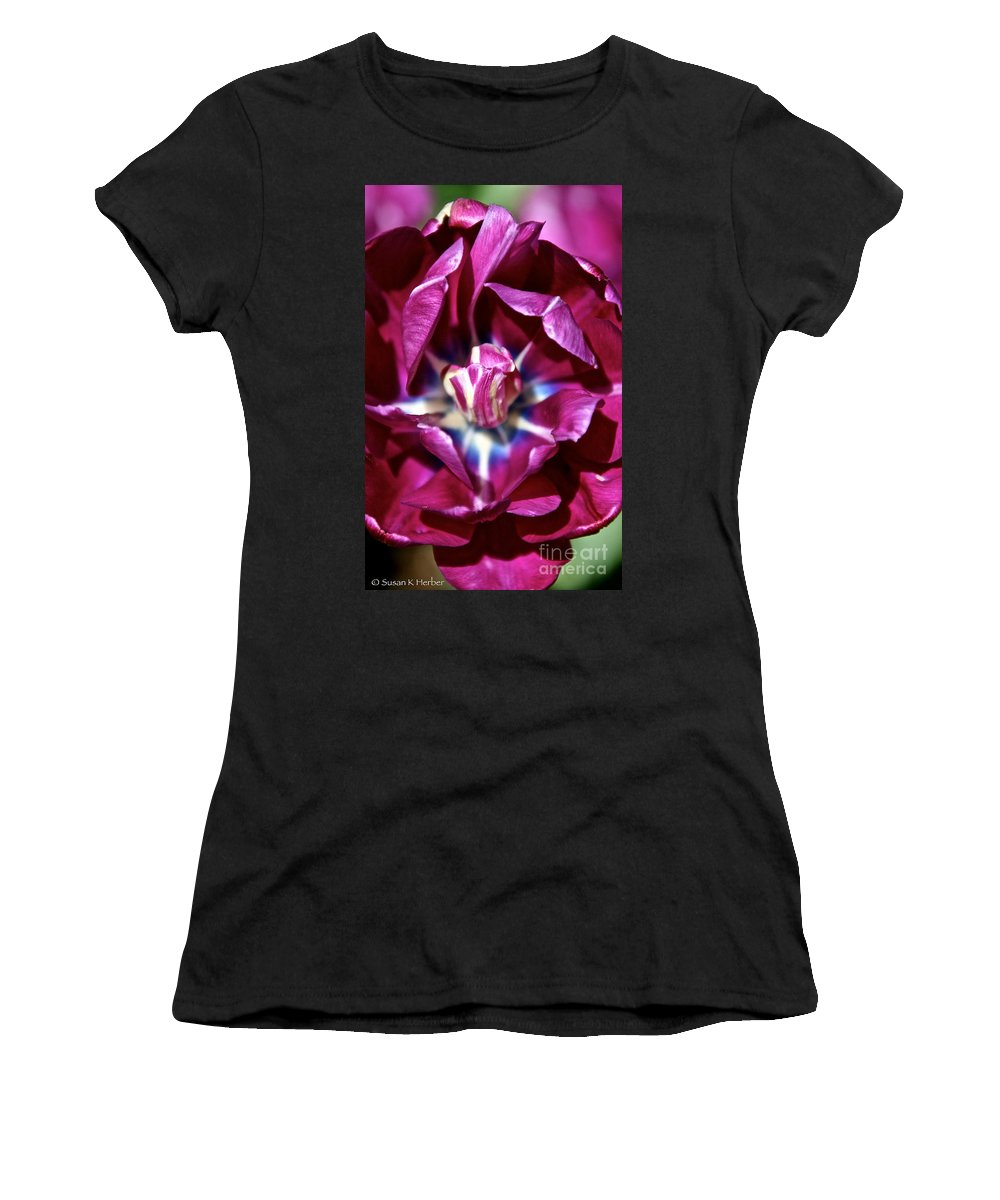 Flower Women's T-Shirt (Athletic Fit) featuring the photograph Double Amethyst by Susan Herber