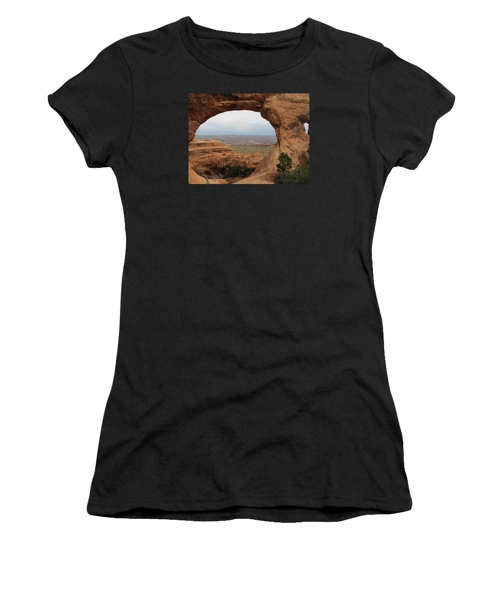 Arch Women's T-Shirt (Athletic Fit) featuring the photograph Double O Arch - Arches Np by Christiane Schulze Art And Photography