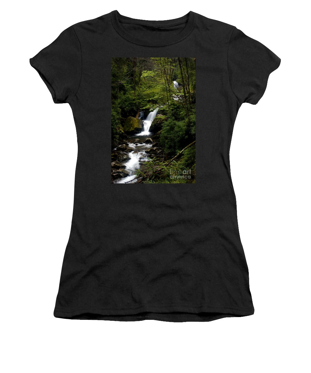 Water Women's T-Shirt featuring the photograph Down From The Hills by Paul W Faust - Impressions of Light