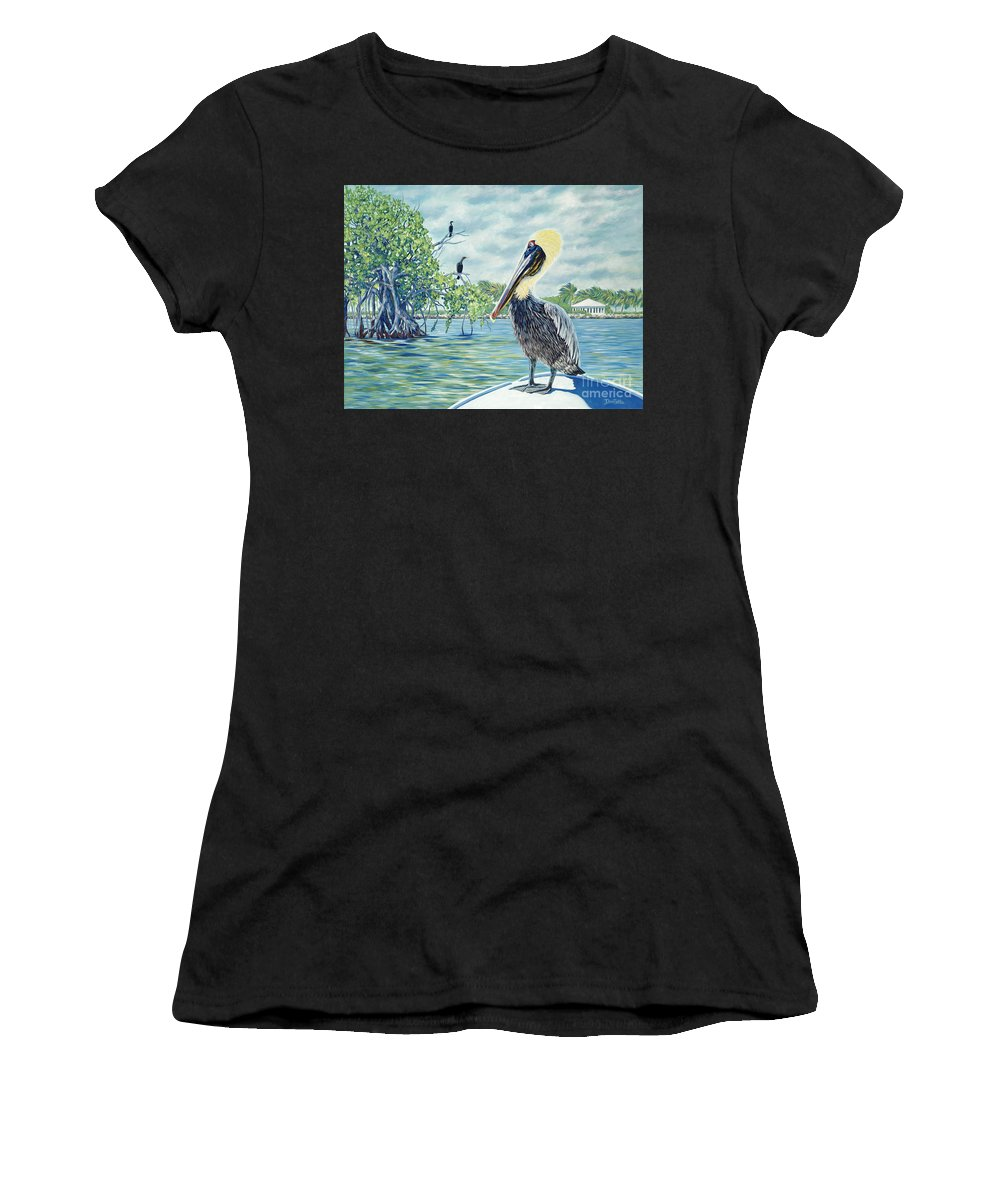 Key Largo Women's T-Shirt (Athletic Fit) featuring the painting Down In The Keys by Danielle Perry