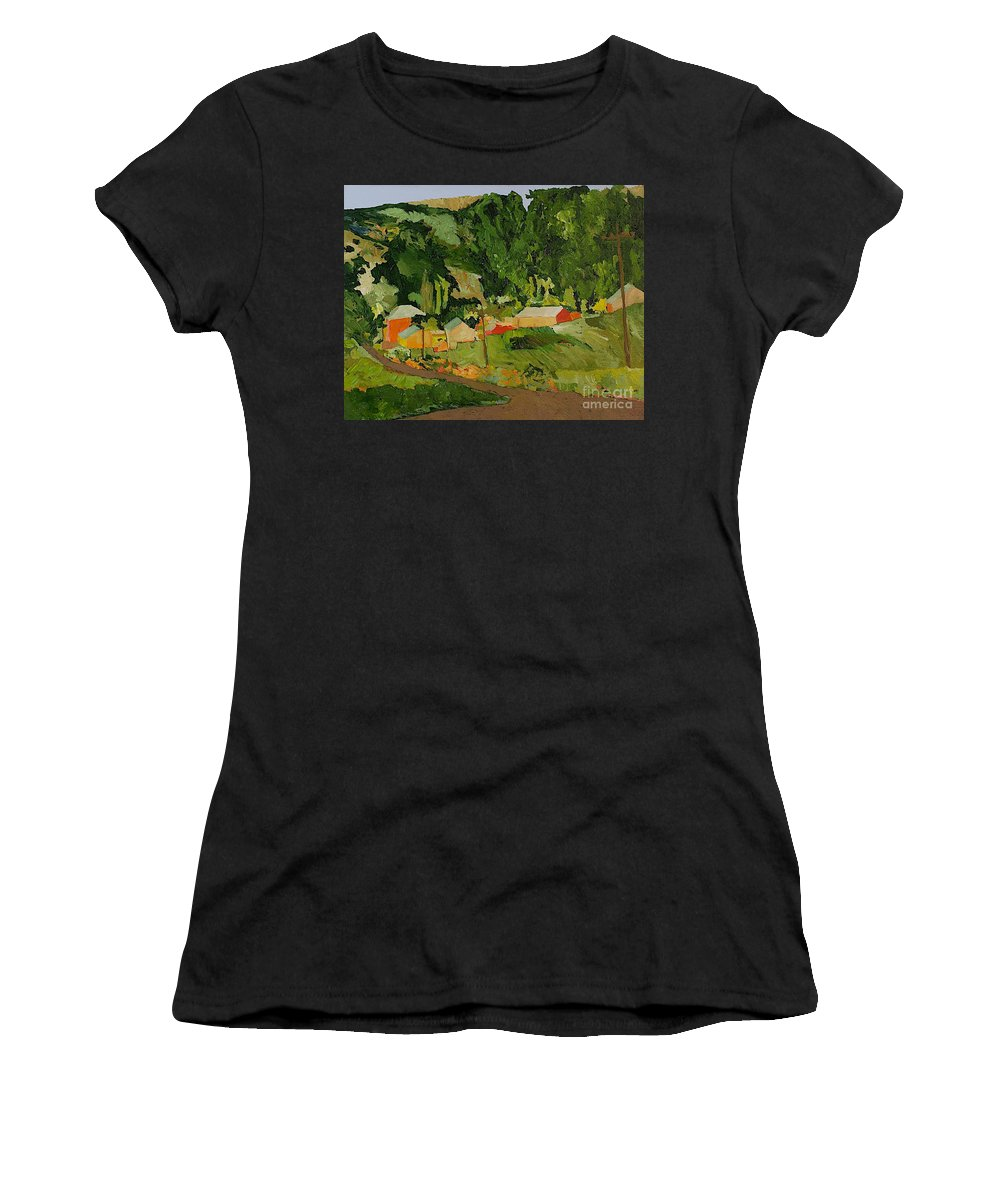 Landscape Women's T-Shirt (Athletic Fit) featuring the painting Down The Road by Allan P Friedlander