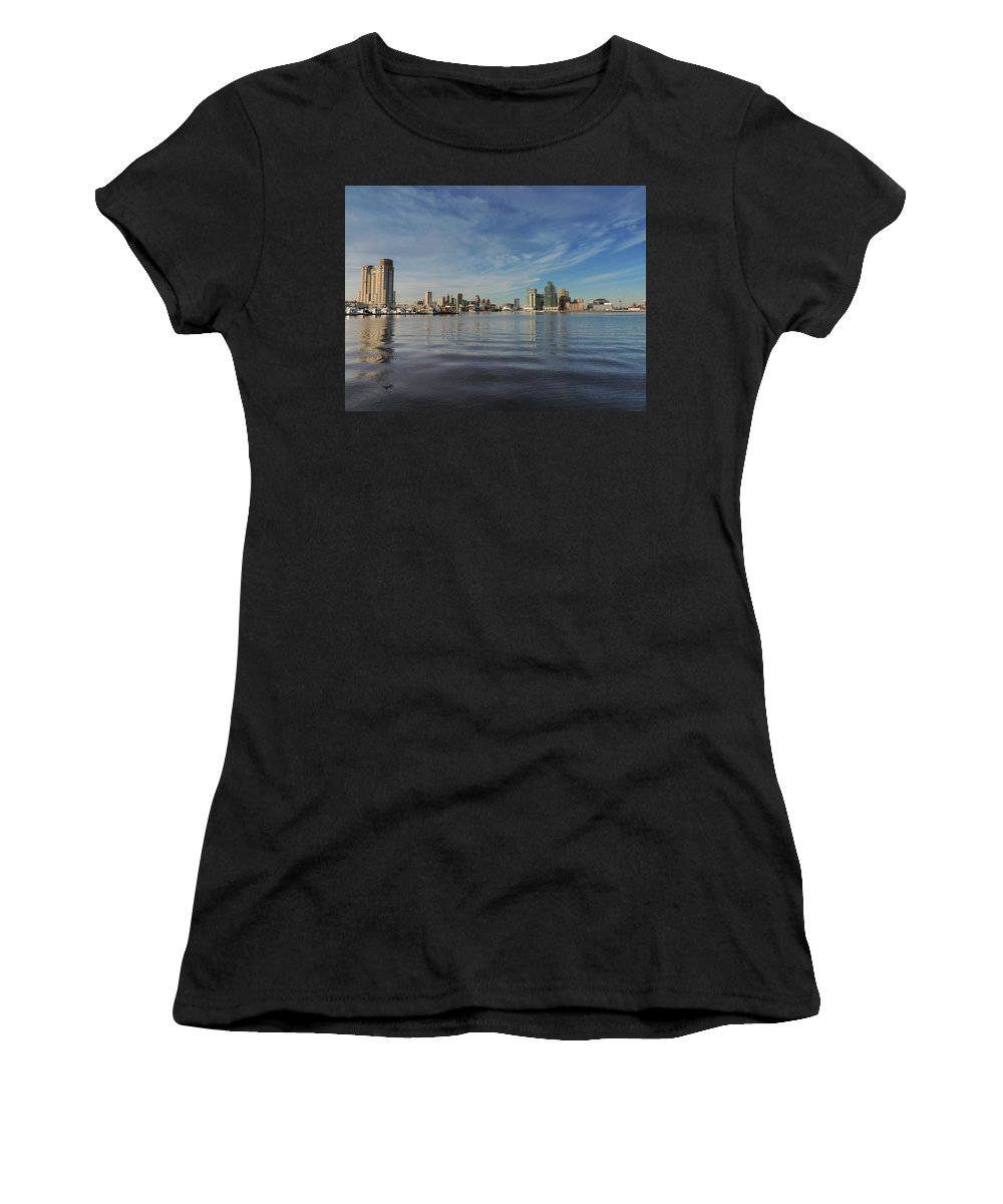 Baltimore Women's T-Shirt (Athletic Fit) featuring the photograph Downtown Baltimore And Harbor East Skylines by Cityscape Photography