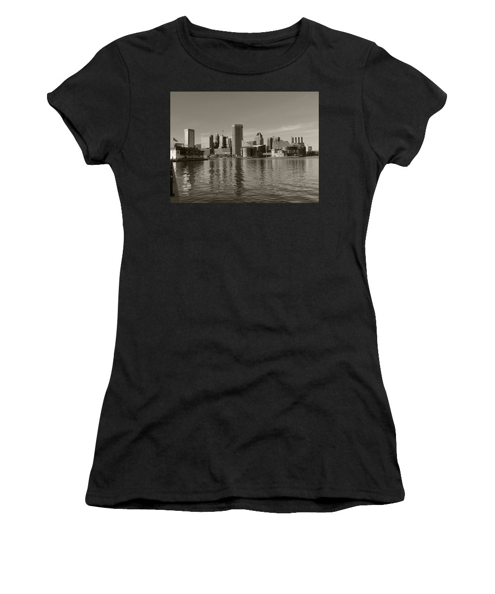 Baltimore Women's T-Shirt (Athletic Fit) featuring the photograph Downtown Baltimore Skyline Sepia by Cityscape Photography