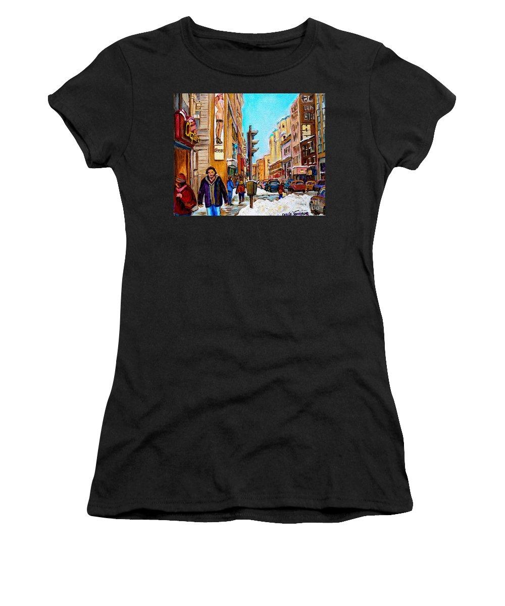 La Senza Lingerie Women's T-Shirt (Athletic Fit) featuring the painting Downtown City Life by Carole Spandau