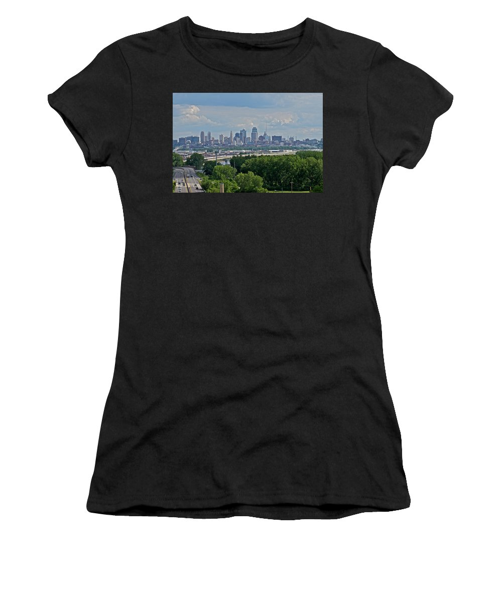 City Women's T-Shirt featuring the photograph Downtown Kansas City From The Northland by Devin Botkins