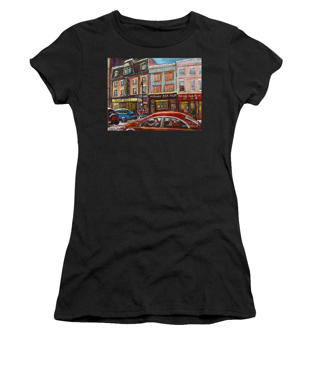 Montreal Women's T-Shirt (Athletic Fit) featuring the painting Downtown Montreal Streetscene by Carole Spandau