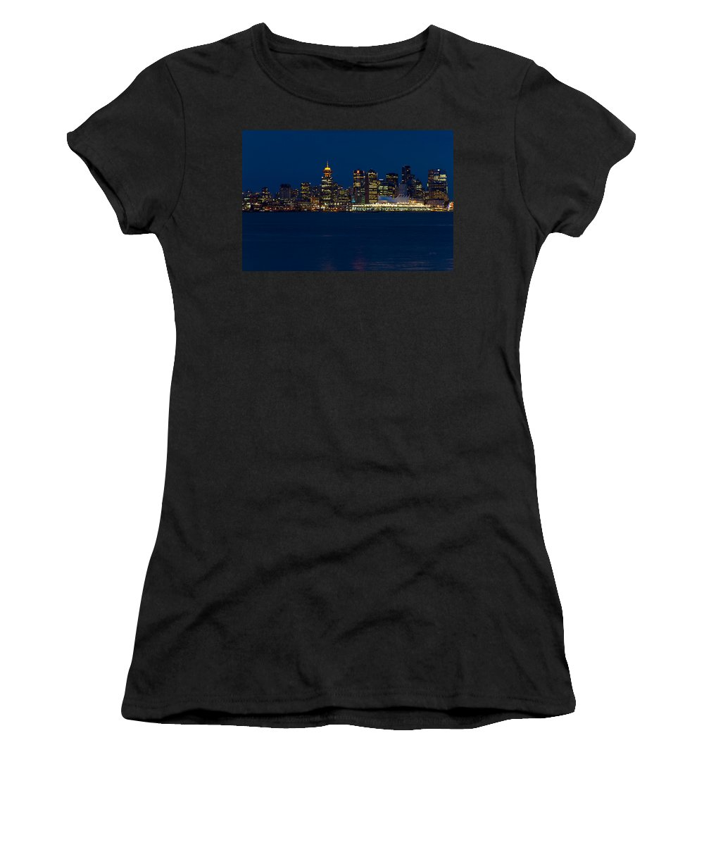 Vancouver Women's T-Shirt (Athletic Fit) featuring the photograph Downtown Vancouver At Night by Eti Reid