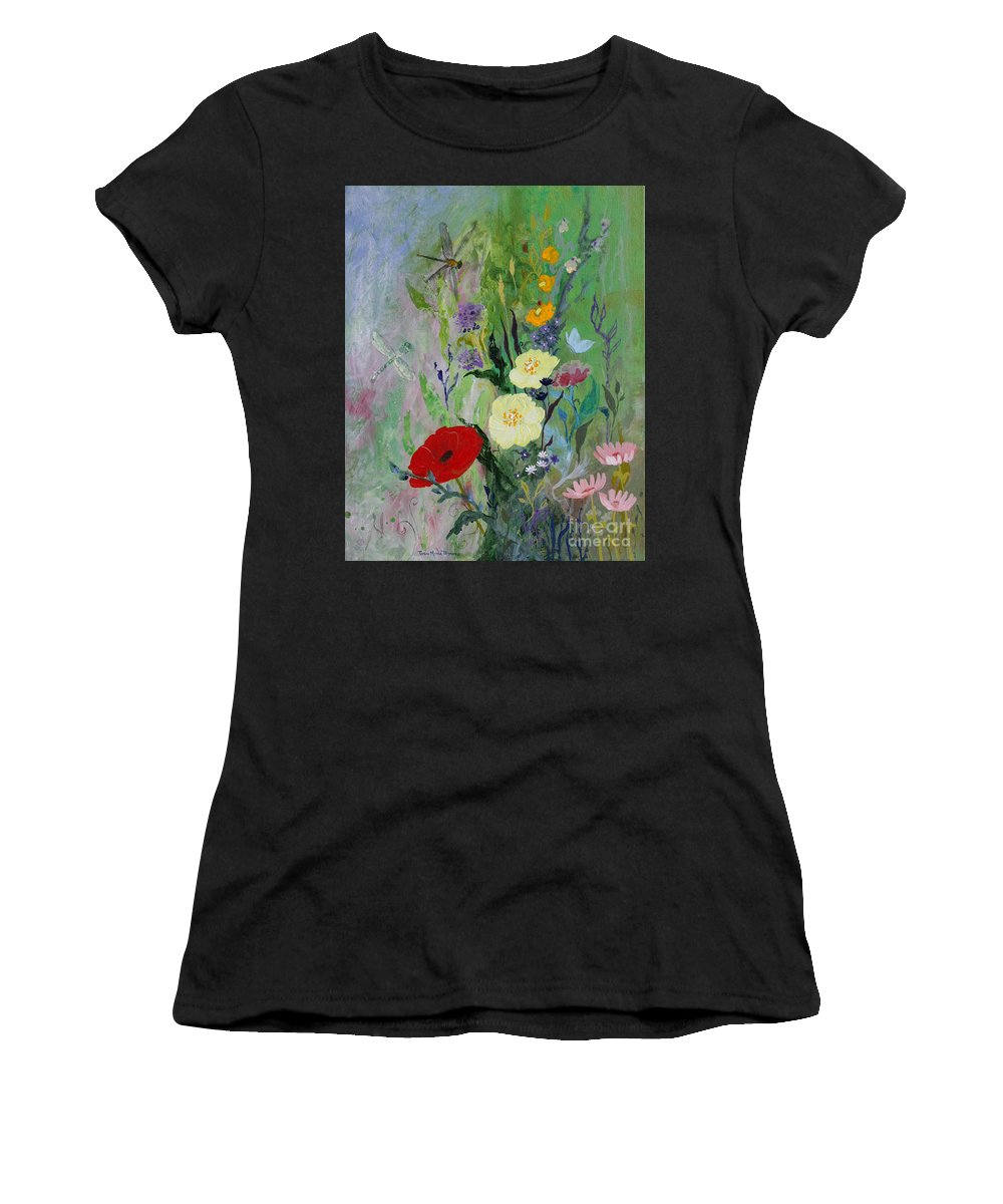 Dragonflies Women's T-Shirt featuring the painting Dragonflies Dancing by Robin Maria Pedrero