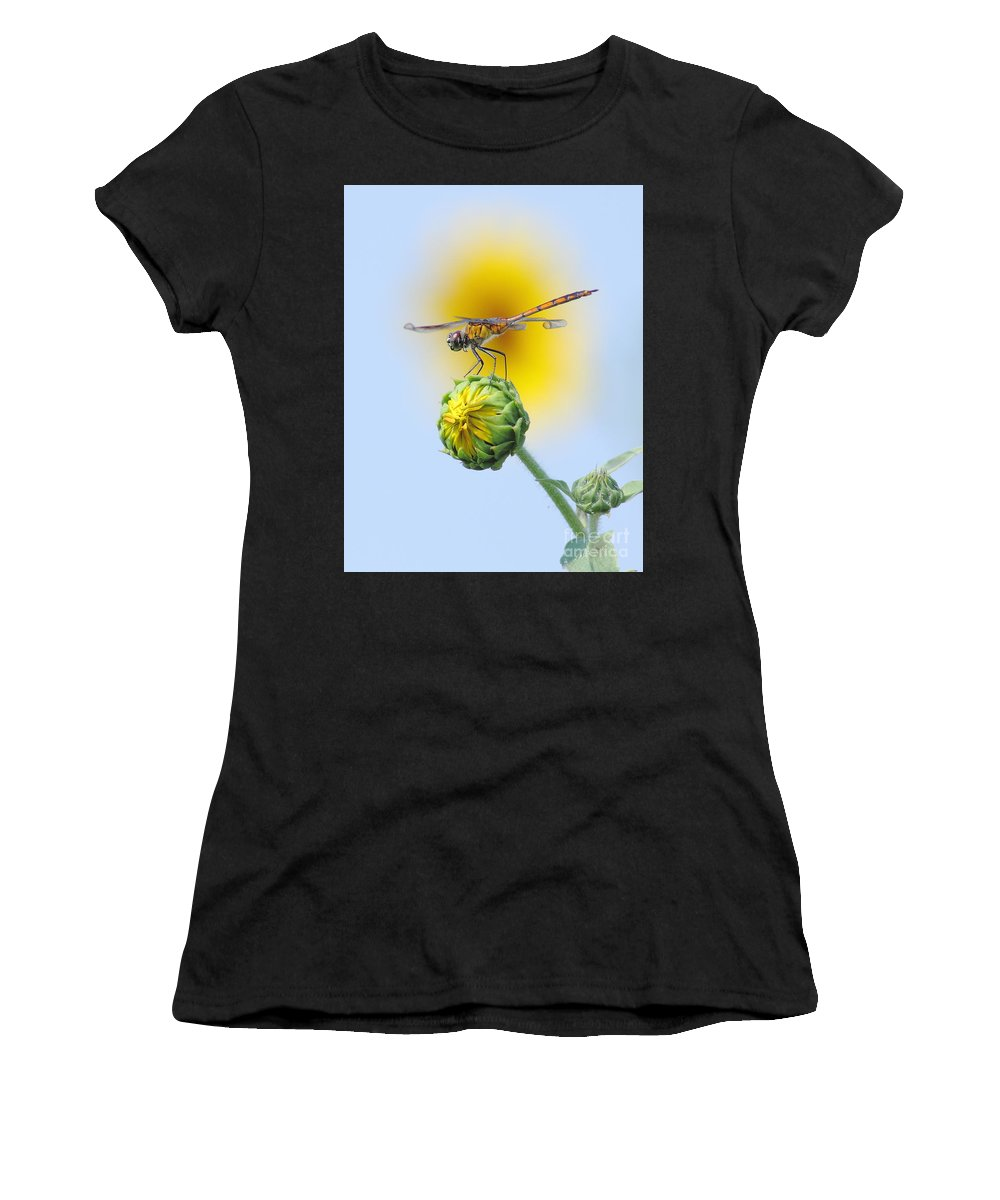Nature Women's T-Shirt (Athletic Fit) featuring the photograph Dragonfly In Sunflowers by Robert Frederick
