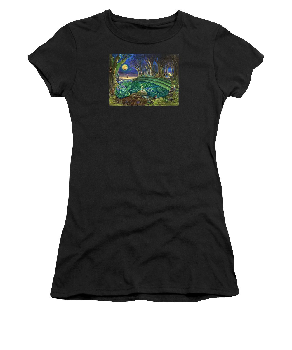 Dragon Women's T-Shirt (Athletic Fit) featuring the painting Dragon's Slumber by Dan Woollard