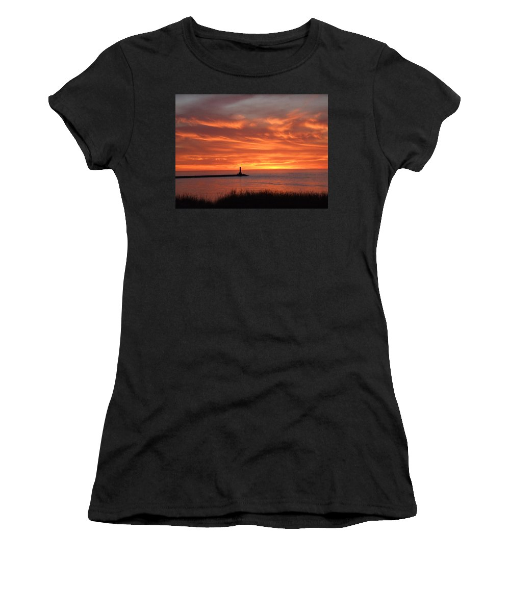 Dramatic Women's T-Shirt (Athletic Fit) featuring the photograph Dramatic Flaming Sunset by Susan Wyman