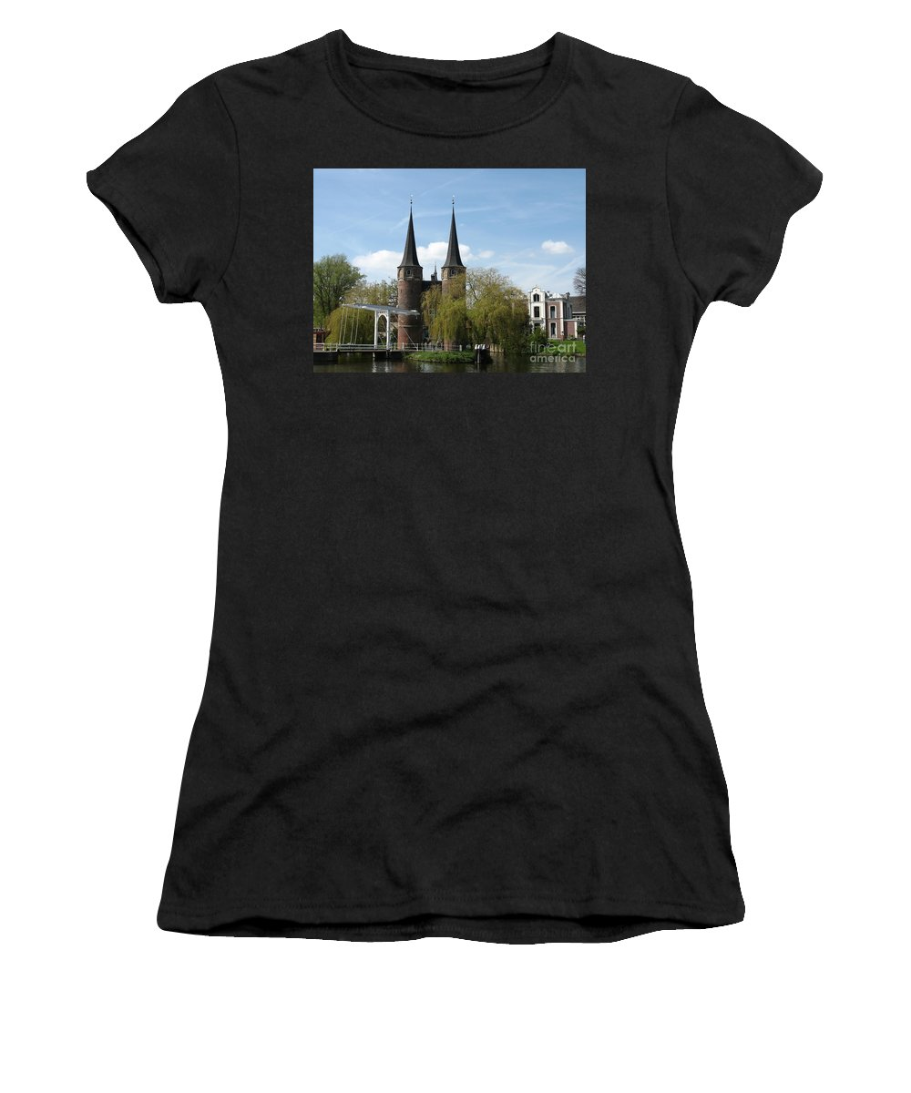 Drawbridge Women's T-Shirt (Athletic Fit) featuring the photograph Drawbridge - Delft - Netherlands by Christiane Schulze Art And Photography