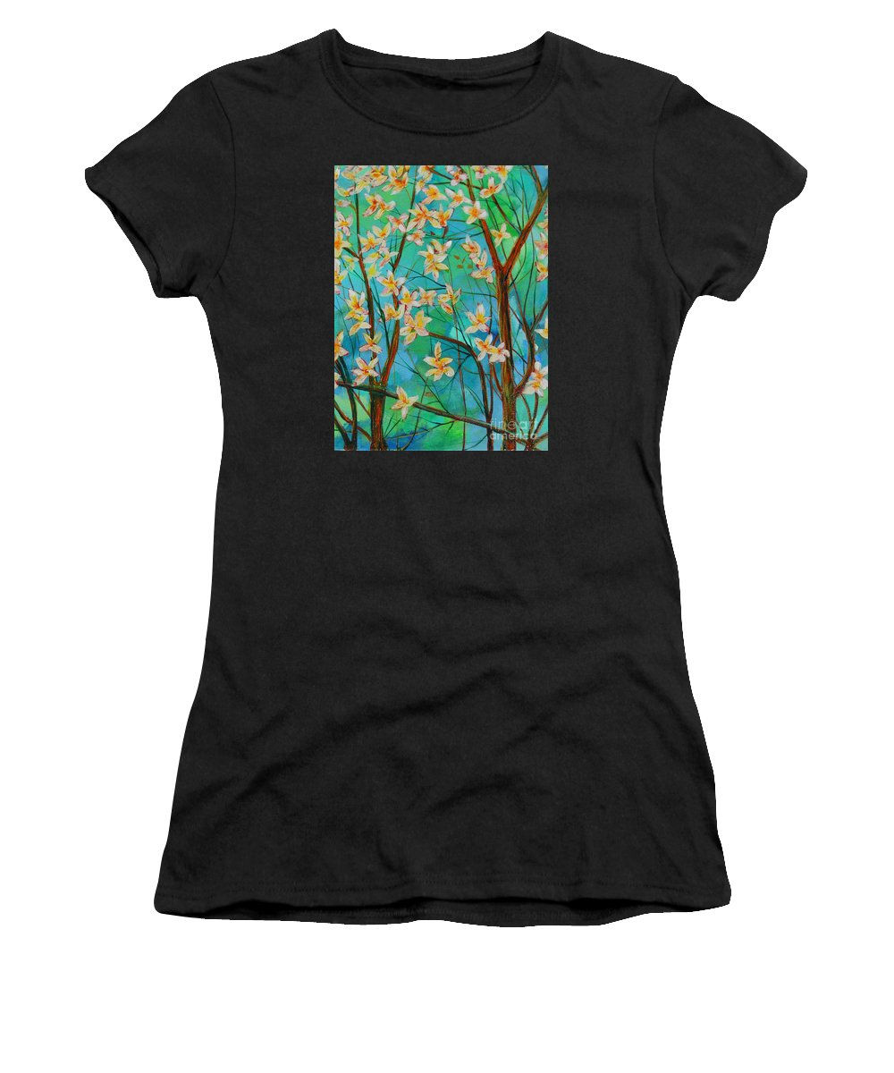 When I Paint Most Of The Time I Really Have Nothing On My Mind. I Hike With My 9 Year Old Grand Daughter In The Mountains Near By Women's T-Shirt featuring the painting Dreaming. by Dan Whittemore