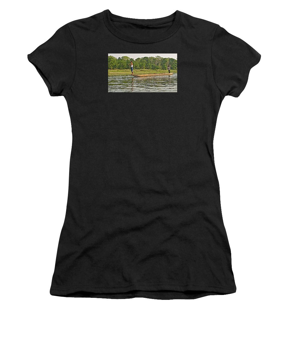 Dugout Canoe In The Rapti River In Chitwan National Park In Nepal Women's T-Shirt featuring the photograph Dugout Canoe In The Rapti River In Chitin National Park-nepal by Ruth Hager