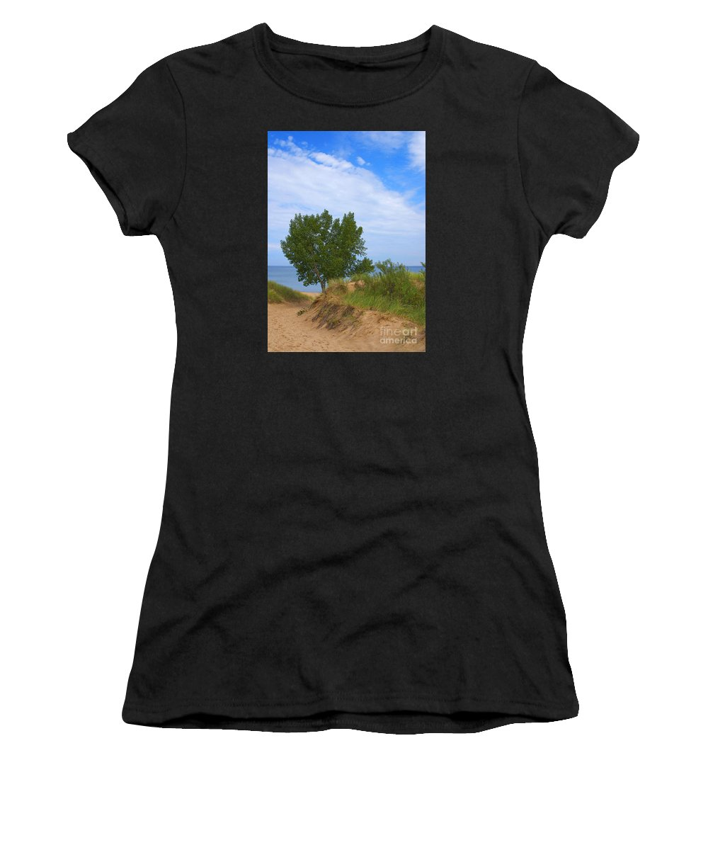 Dune Women's T-Shirt featuring the photograph Dune - Indiana Lakeshore by Ann Horn
